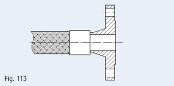 Welding neck flange in compliance with EN 1092-1, e.g. as shown here Type 11