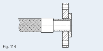 Loose flange with collar in compliance with EN 1092-1, e.g. as shown here Type 02